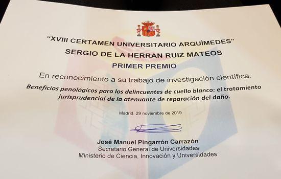 Sergio de la Herrán Ruiz-Mateos, alumno del Master de Abogacía de la Universidad de Cádiz, ha sido el ganador de la edición 2019 del Certamen Universitario Arquímedes que organiza el Ministerio de Ciencia, Innovación y Universidades